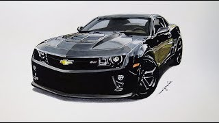 How to draw a Chevrolet Camaro ZL1 - Speed Drawing - 3D ART by Rui Gouveia