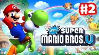 New Super Mario Bros. U - Walkthrough Part 2 - Lemmy Boss Fight (World 1) (Wii U Gameplay)