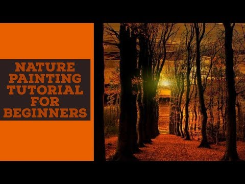 NATURE PAINTING TUTORIAL FOR BEGINNERS I NATURE DRAWING EASY: NATURE SCENERY PAINTING
