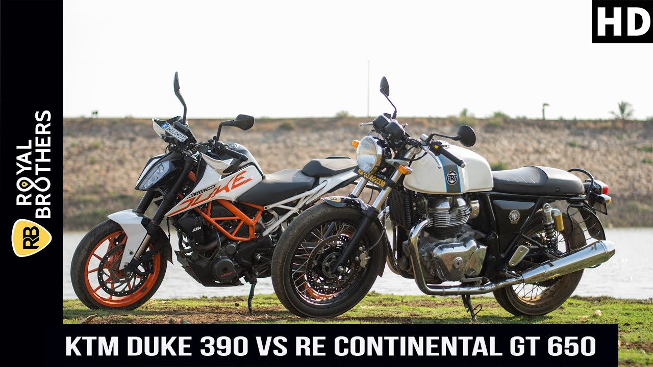 Ktm Duke 390 Vs Royal Enfield Continental Gt 650 Comparo Youtube