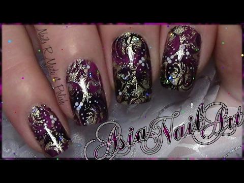 Elegantes Nageldesign Asia Stamping Nail Art Design Nagel