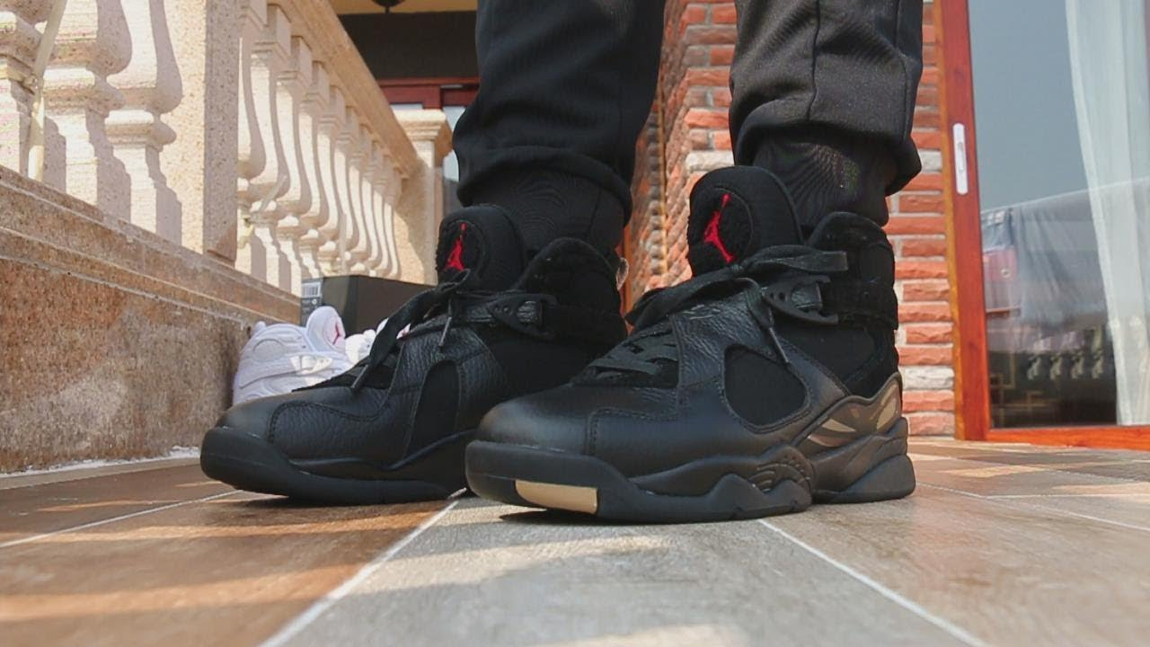 954f857b0da503 Air Jordan 8 OVO Black On Feet Review - YouTube