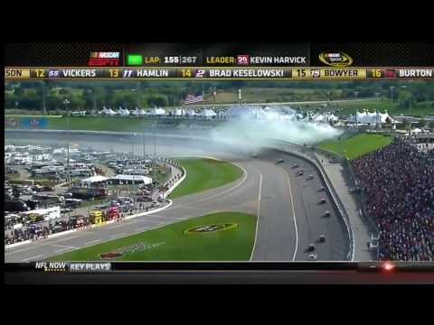 NASCAR Smoke on hill brings out caution | Kansas Speedway (2013)
