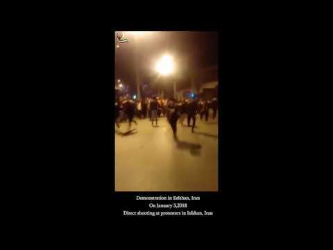 Direct shooting at protesters in Isfahan, Iran - Jan. 3, 2018