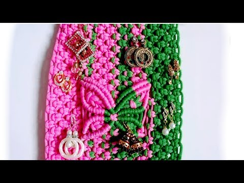 diy//macrame-earrings-holder//macrame-wall-hanging