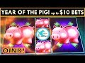 PIGS! UP TO $10 BETS! PIGGY BANKIN' SLOT MACHINE, HAPPY LUNAR NEW YEAR!
