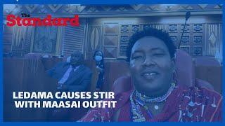 Narok Senator, Ledama Ole Kina goes to the Senate chambers in his Maasai attire