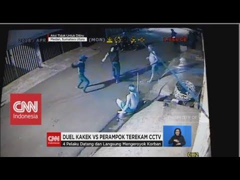 Duel Kakek-kakek vs Empat Perampok Terekam CCTV