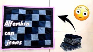 Alfombra con tela resiclada   Idea con jeans   Manualidades RPL