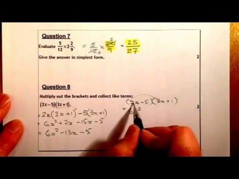 National 5 Unit 1 Revision Exam Questions NonCalculator