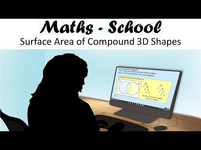 Surface area of compound 3D Shapes Maths GCSE revision lesson (Maths - School)