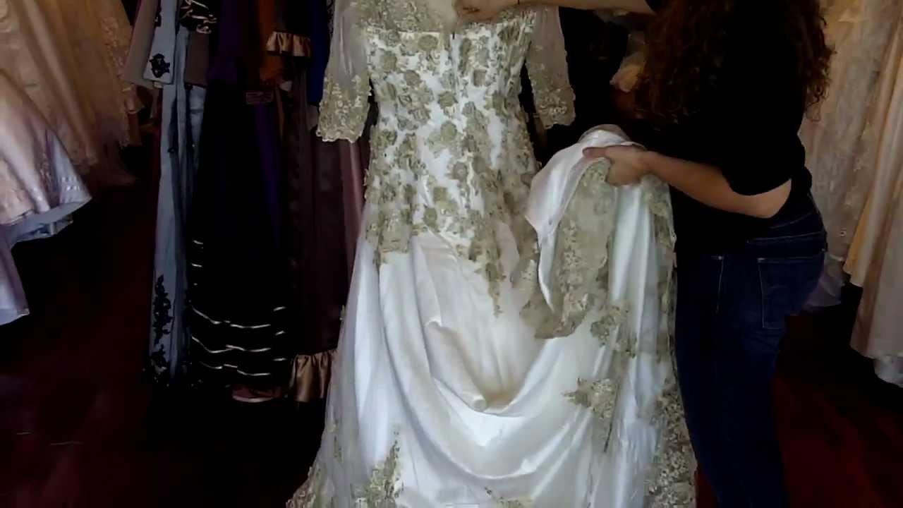 Antique Vintage Gold Lace Wedding Dress Youtube