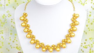 How to String a Galaxy Gold Pearl Necklace Design with Chain