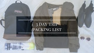 What I Packed for a 3 Day Trip