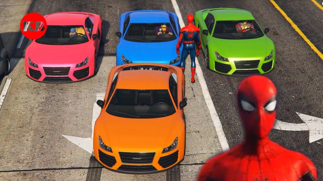 Spiderman conduit une voiture sportive youtube - Spiderman voiture ...