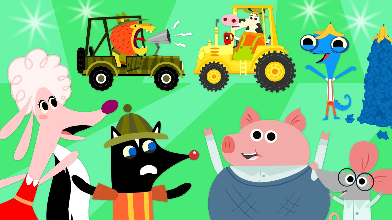 Garbage Truck, Tractor, Catering Truck & More Vehicles at Mr. Monkey's Garage | Cartoon Collection