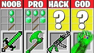 Minecraft Battle: EMERALD CRAFTING CHALLENGE - NOOB vs PRO vs HACKER vs GOD / Animation