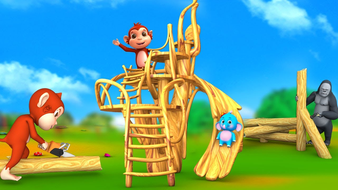 Funny Forest Animals with Gorilla and Monkey Build and Play Wooden Slider in Jungle 3D Animal Videos