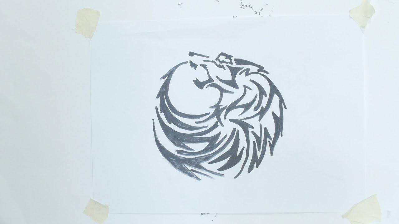 How To Draw Wolf Head Tribal Tattoo #5