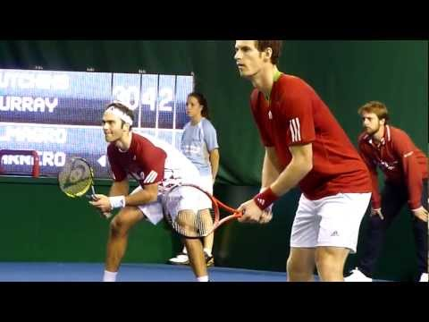 Andy Murray playing in doubles with Ross Hutchins in Paris 2011