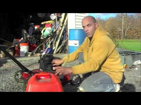 Lawn mower in winter storage