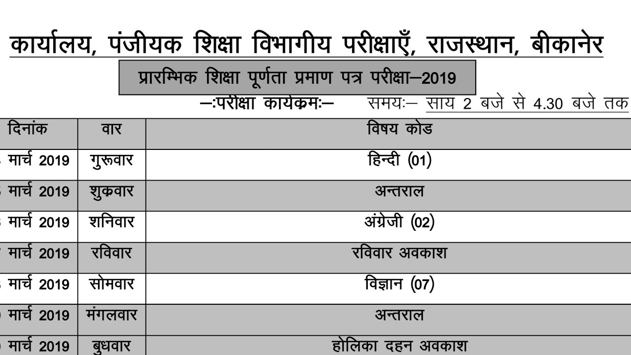 Board Exam 2019 || Class 8th Board Exam Time Table 2019 || Date Sheet 2019  Rajasthan Board