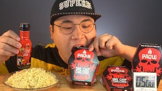Nuclear spicy noodles and one chip challenge, can ddeonggae bear 5 mins?!