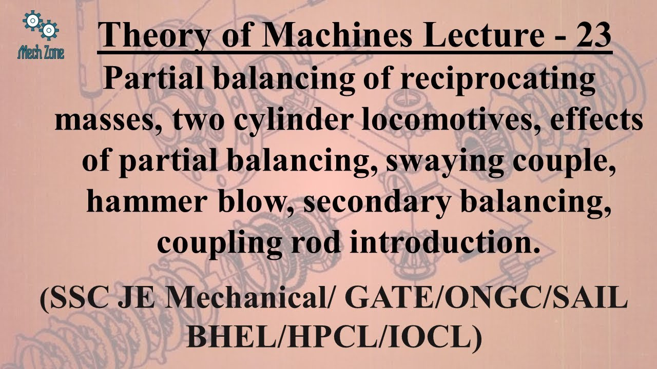 Theory of Machines Lecture 23:Partial balancing & it effects, secondary balancing, coupling rod.