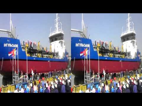 Launching of Grab Hopper Dredger - Video 3D