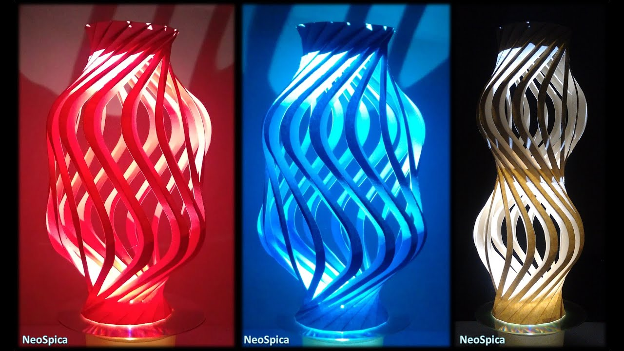 Paper Curved Column Twisted Spiral V2 / Cut and Fold - YouTube for Recycled Paper Lamp  199fiz