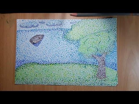 كيفية رسم منظر طبيعي بالتنقيط بطريقة سهلة وبسيطة مع الخطوات بقلم الماركر Youtube