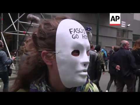 Hundreds protest against French National Front leader Marine Le Pen