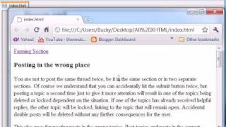 XHTML and CSS Tutorial - 7 - Creating a Link Within a Web Page