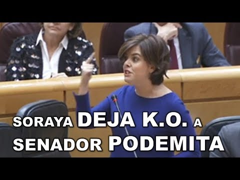 Senador PODEMITA ataca a SORAYA por CATALUÑA y ella le DEJA EN RIDICULO a cuenta de ADA COLAU