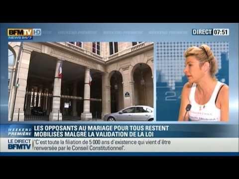 Interview de Frigide Barjot après la promulgation du Mariage Gay (18/05/13, BFM TV)
