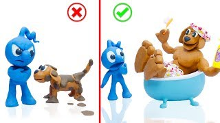 CLAY MIXER PUPPY GROOMING TRAINING 💖 Play Doh Stop Motion Cartoons