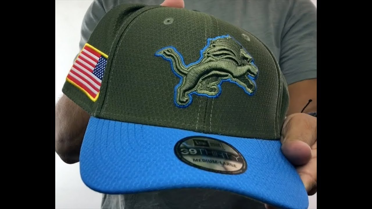 Lions  2017 SALUTE-TO-SERVICE FLEX  Green-Blue Hat by New Era - YouTube 68bd70d6c5c5