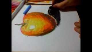 Как нарисовать яблоко масляной пастелью/Яблоко в технике