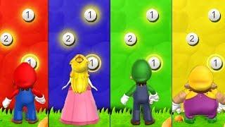 Mario Party 9 - Minigames - Luigi vs Mario vs Peach vs Wario  - Peak Precision