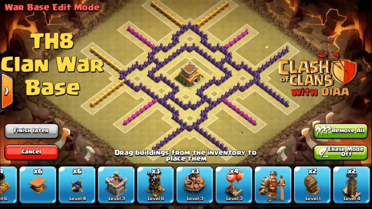 Coc l one of the best th8 clan war base ll anti 3 stars dragons lvl 3