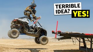 homepage tile video photo for We Almost Break Jason Ellis With a Skateboard, a Polaris RZR, a Dirt Jump and Tanner Foust