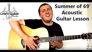 Fingerstyle Guitar Tutorial - Summer Of 69 - Bryan Adams - Unplugged