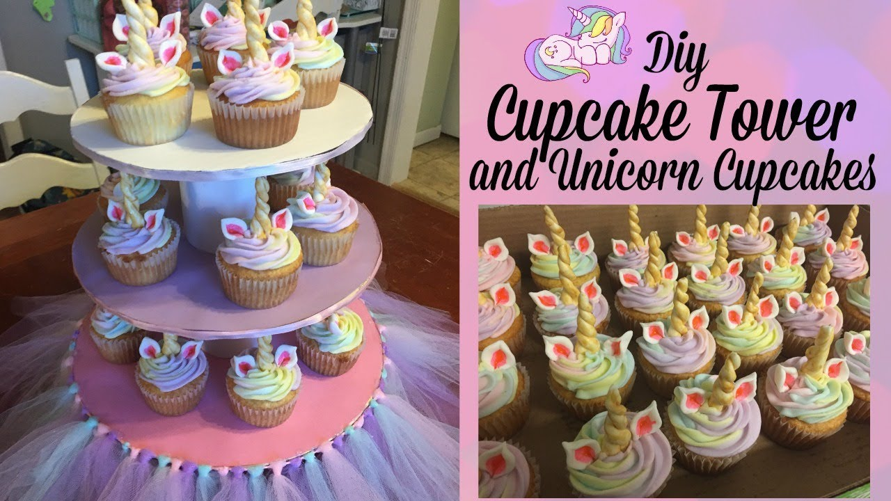 Diy Cupcake Tower And Unicorn Cupcakes