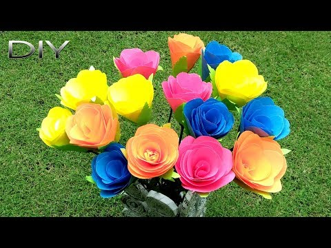 How to Make Rose Flower | Making Newspaper Flower Vase Step by Step | DIY Paper Crafts
