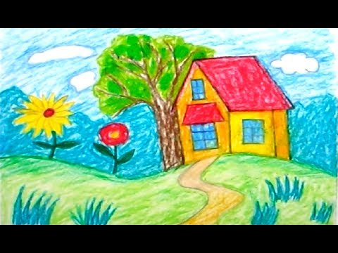 How to draw scenery | scenery for kids | scenery for beginners | landscape drawing