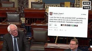 Bernie Brings Giant Trump Tweet To Senate Floor