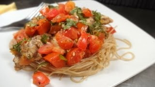 Chicken Bruschetta With Whole Wheat Angel Hair Pasta
