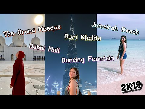 DUBAI & ABU DHABI VLOG: Dancing Fountain, Burj Khalifa, The Grand Mosque and Jumeirah Beach | Travel