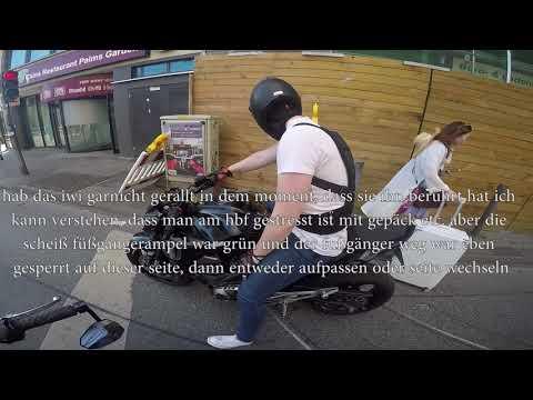 Sie rempelt sein Motorrad an | Stadtverkehr Frankfurt am Main | Motovlog