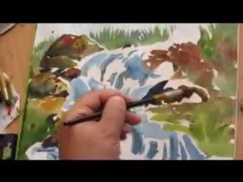 تعليم الرسم ( منظر طبيعي الوان مائية ) Painting class Landscape Watercolor